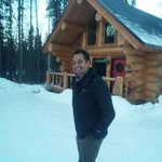 In front of lodgepole cabin during February 2014