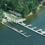Arial view of Indian Bay Marina Docks and Restaurant