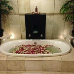 rose petals in the bathtub