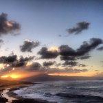 Sunset Hawaii Maui at Hookipa beach park North Shore.