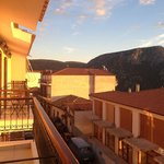 the view of beautiful sunset of the delphi from our balcony