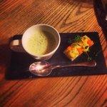 Delicious leek & potato soup with open egg sandwich.