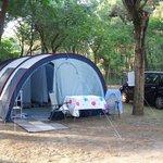 Onze tent in het Pineta-bos