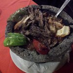 molcajete of beef and chicken