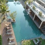 View over pool from balcony