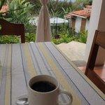 Terramaya, delicious coffee on the terrace overlooking thier garden