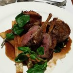 Rack and braised shoulder of lamb, fondant potato and salsify