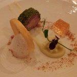 Ballotine of pork, foie gras, scallop, cider jelly and apple salad