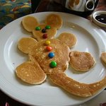 The Mickey Mouse pancake--just one sample of how Javier spoils the guests