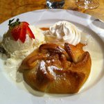 Apple strudel, no raisins, ice cream and whipped cream