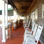 Rocking chairs on the main building's deck.