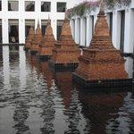 Charming stupas decorate inner space at The Sukhothai Bangkok Hotel
