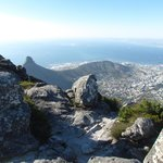The view of Lion's head and Signal hill from the top if Table Mountain, the city underneath and
