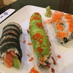 salmon and avocado roll, Eel Roll topped by avocado, and California Roll