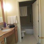 Roomy bathroom area