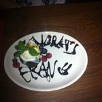 What our amazing Waitress got the kitchen to do for my girlfriend Francesca. Thank you once agai
