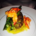 filet with asparagus and lobster