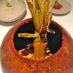 The best entree.  Smoked baby corn in a gourd.