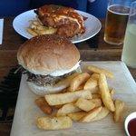 Pulled pork burger and chicken parmigiana
