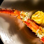 King Crab Poached with Bottarga, Tagliolini and Milk Braised Garlic