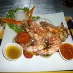 Barbecued tiger prawns