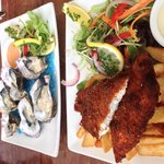 Lunch special of fish and chips, and the oysters.