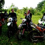 Having a chat in between the ride. Dirt Bike Tour Bali