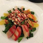 spinach salad (fruit almonds pecans)