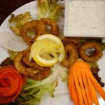 Fresh Calamari with mouth water minty dip