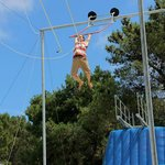 Mohaka Raft Guide GBall on the trapeze - an Awesome time