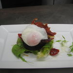 Local Black pudding with a poached egg