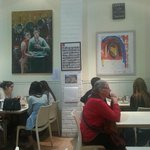 Birenboim Cafe - note the art work on the walls