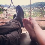 Putting our feet up on the balcony with the lake view