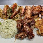 Made to order Land and Sea platter - you can design your own meal with choices of chicken breast