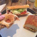 bagel au saumon, sandwich club et italian sandwich