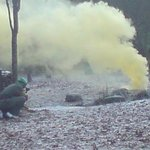 Paintball game in action