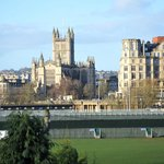 The view across to Bath Abbey with the rugby ground in between