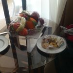 Fruit and sweets left in room
