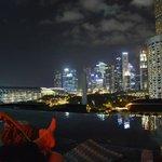 Aussicht von der Dachterasse mit Pool bei Nacht