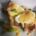 Polenta benedict with pork belly and habenero hollandaise.
