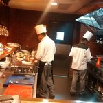 The view of the open kitchen