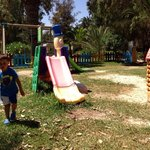 Kids play ground, very hot in the day, no shade.