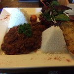 Huge Chilli with Pyramid Rice.