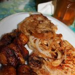 fried plantians with pork chops