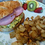 Egg, green chile and chive breakfast sandwich is one of Annette's specialties