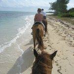 Riding along the beach getting ready to canter