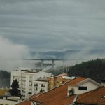 Early morning cloud, looking L at the spectacular road bridge