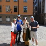 Here we are with our tour guide in Stockholm in our Viking hats