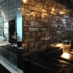 another view of bar...note old safe deposit boxes on wall