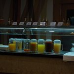 Fruit juice drinks at breakfast